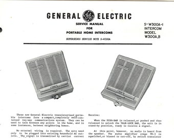 General Electric Vintage Radio Service Manual Excellent Condition 1961 Download PDF Model W300A W300B Portable Home Intercoms