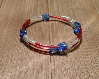 Red White & Blue Beaded Wrap Bracelet (#003)