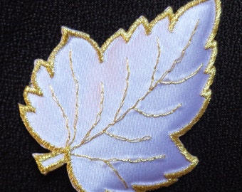 Embroidered Iron-On Applique Leaf, 2+1/2 x 3+1/4 inch