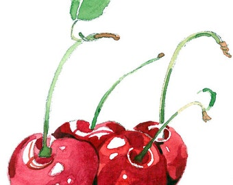 ACEO Limited Edition 3/25 - Cherries,Art print of an ORIGINAL ACEO watercolor painting, Small gift idea for housewarming party