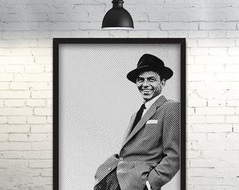 Frank Sinatra Printable Poster      Engraved Effect      80x100cm      High Resolution PDF & JPG Files