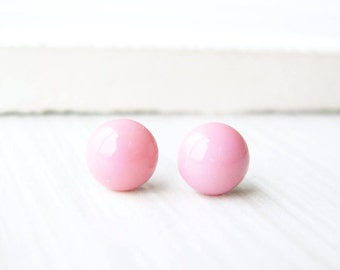 Small Pink Post Earrings, Nickel Free Titanium, Minimalist Jewelry, Glass Studs, Simple, Pastel
