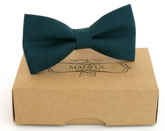 Blue-green  bow tie, wedding necktie, linen necktie,  groomsmen necktie,  blue-green necktie, blue-green bow tie for men