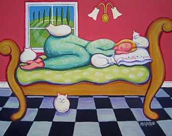 Cat Print, Cat Folk Art, White Cat Painting, Crazy Cat Lady, Woman Sleeping, Cats Napping, Cats on Bed, Woman Italy, Whimsical Cat, KORPITA