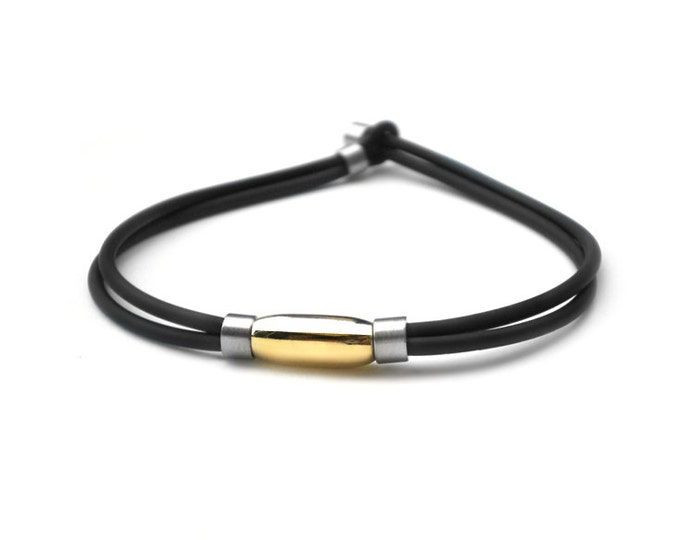 Casual Rubber Bracelets with Steel & Gold Elements