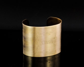 Custom Engraved Brass Bangle Cuff - 2 inch