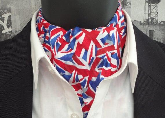Cravat, cravats for men, ascots for men, Union Jack cravat, reversible cravat, blue and white spot cravat