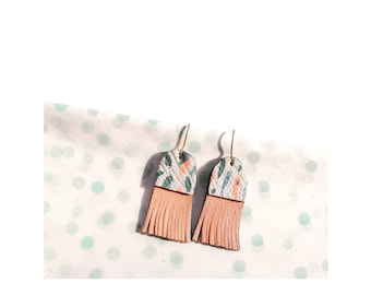 Leather fringed Earring