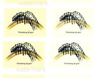 8 embellishments digital download card toppers sympathy card scrap booking over the rainbow bridge pet dog cat memorial A4 sheet png