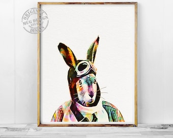 Pilot Rabbit Portrait, Rabbit Print, Bunny Print, Rabbit Watercolor Print, Watercolor Painting, Pilot Gift, Funny Bunny Rabbit, Cool Rabbit