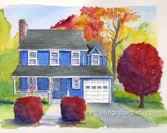 Custom Illustrated ink and watercolor House Portrait 8x10 or 11x14