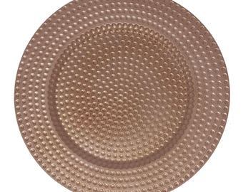 """12 PACK - 13"""" Round Metallic COPPER HAMMERED Design Round Plate Chargers for Dinners, Weddings, Table Setting, Events, Decoration."""