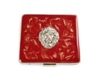 Large 8 day Pill Box Venetian Lion Inlaid in Hand Painted Enamel Red Swirl Pill Organizer Custom Colors and Personalized Options