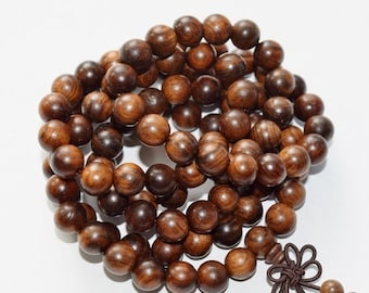 """Black Rose Wood Beads - Round 8 mm Beads - Long Full Strand 36"""", 108 beads, A Quality, Item 1"""