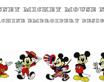 Machine Embroidery Designs - Disney Mickey Mouse No1 - Instant Digital Download - Pes / Jef / Hus / Dst / Exp / Vip / Vp3 / Xxx Formats