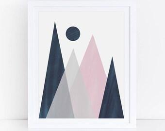 Navy Pink Nursery Decor, Geometric Mountain, Geometric Print, Graphic Art, Navy Pink Art Print, Mountain Print, Buy One Get One Free Print