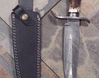 Custom Handmade knife with Damascus Steel Single Edged Bowie Style Blade with heavy duty custom leather sheath