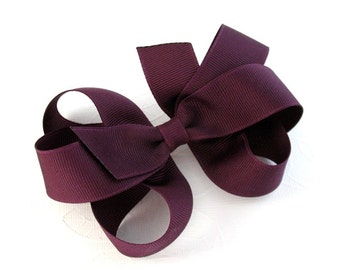 CLEARANCE ~ Large Plum Hair Bow Clip, Girls Thanksgiving Hair Bow, Toddler Hair Clip, Back to School Bow, Flower Girl Bow