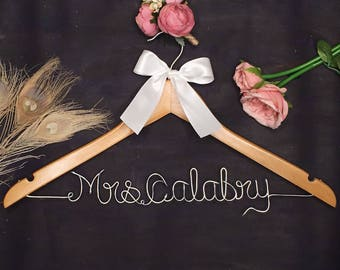 Wedding Hanger for Bride or Groom - Personalized Wedding Hanger- Bridal Hanger- Bridesmaid Dress - Bridal Shower Gift - Wedding Shower Gift