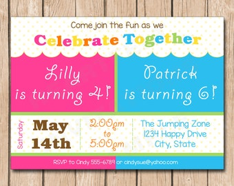 Celebrate Together Birthday Invitation | Brother and Sister, Sisters, Brothers, Friends, Double, Duo - 1.00 each printed