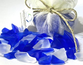 "Cobalt Blue and Clear Tumbled ""Sea Glass"" Pieces, Machine Tumbled Recycled Glass, Smooth Glass Pieces for Mosaics or Jewelry, 3 oz Package"