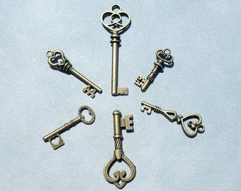 Skeleton Keys - 6 New Bronze Toned Keys for Mosaics Mixed Media Art Jewelry - Heart Keys