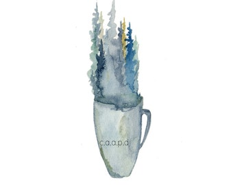 Mug - 2 - aquarelle Art Print - pins, forêt, café, tasse, thé, nature, bois du Nord du pin