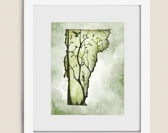 Vermont State Wall Art Tree Print, 11 x 14 Earthy Green Decor, Vermont Art Print, Vermont Wall Art, Vermont Print, Vermont Decor  (294)