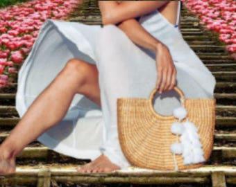Tassel Pompoms for handbags, Beach Straw bag tassel charm,Tote Bag Tassel Pom Pom Decoration, Customized, Handcrafted, Choice of 80 Colors,
