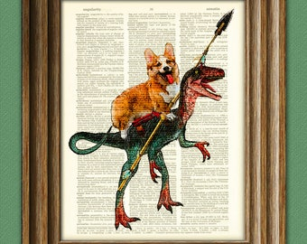 Cavedog the Corgi rides a Velociraptor Dinosaur dog original art vintage dictionary page book art print