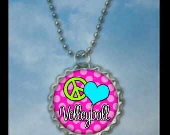Set of 4 Peace Love Volleyball Bottlecap Necklaces,GLITTER or Plain, volleyball gifts, volleyball gift, volleyball necklace, team gift medal