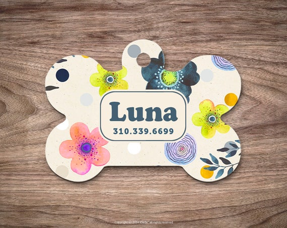 Pet ID Tag Pet Tag Cat Tag Pet Gift Cat Identification Tag Dog ID Tag Dog Tag for Dogs Dog Identification Tag Floral Pet Tag Cute