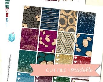Glitter Planner Stickers, Digital Planner Stickers, Printable Weekly Kit, Winter Weekly Kit, Weekly Sticker Kit for Erin Condren, Silhouette