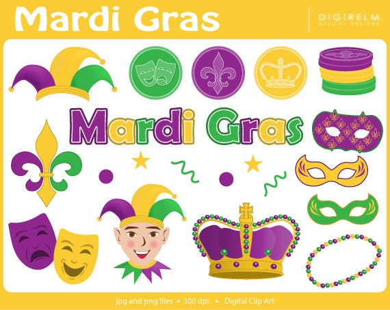 Mardi Gras Clipart Digital Printable Clip Art