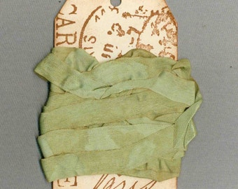 seam binding 5 yards tea dyed green vintage Paris tag trim ribbon French chic . 825 . ....oohlala