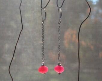 Cherry Red Quartz Sterling Silver Wire Wrap Drop Earrings