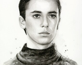 Wesley Crusher Portrait Star Trek Art Watercolor Painting Giclee Print Sci Fi Art Illustration Geek Decor
