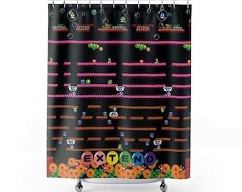 Bubble Bobble Shower Curtain / Video Game Shower Curtain / Unique Design / Bathroom Video Game / Nerd Curtain / Geek Bathroom Decor