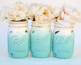 Mason Jar Decor, Painted Mason Jars, Ombre Mason Jars, Beach Decor, Mason Jars Bulk, Boho Decor, Jar Centerpiece, Teal Jars, Painted Jars