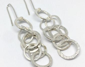 Sterling Silver Hoop Earrings,Circles Earrings,Long Hoop Earrings,Long Chain Earrings,Drop Earrings,Textured Earrings,Circle Earrings