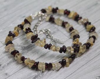 Garnet Bangle, Garnet Bracelet, Rutile Quartz Bracelet, Garnet Jewelry, Rutilated Quartz Jewelry, Gemstone Bracelet, Healing Crystals
