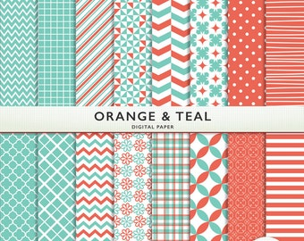 Orange AND Teal Digital Paper  - 16 Sheets and Solids - Scrapbooking  Instant Download & Printable G7334