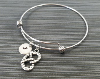 Pretzel Bracelet Bangle - Food Charm Bracelet - Expandable Bangle - Charm Bangle - Pretzel Bangle - Initial Bracelet - Best Friend Bracelet