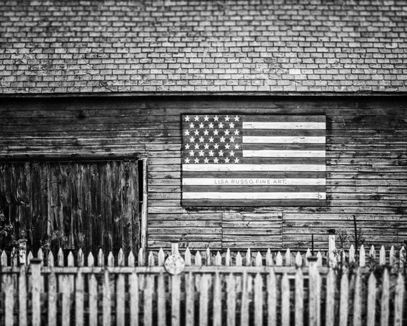 Black and white americana barn print or canvas art rustic