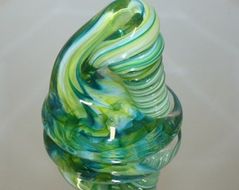 Lime and Aqua Glass Desk Pen Holder & Paperweight