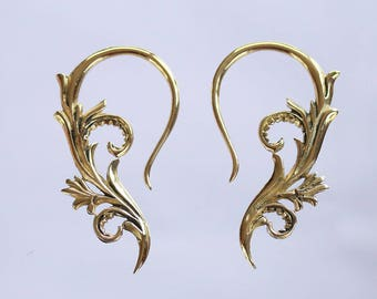 Floral brass earrings or hanging styles