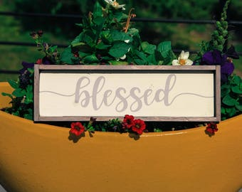 blessed, wood sign