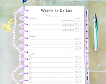 Weekly To Do List Planner Big Happy Planner Printable PDF Weekly Projects Weekly To Do List Projects Weekly Routines Instant Download.