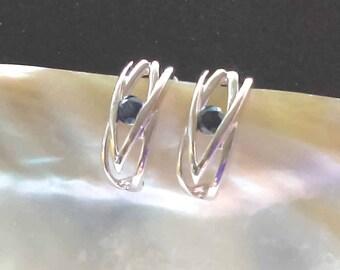 Sterling Silver Sapphire Stud Earrings, 925 Silver Earrings, September Birthstone Stud Earrings,  UK Seller, Blue Sapphire Studs, UK Seller
