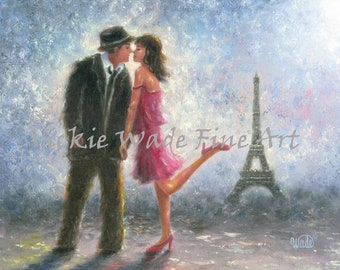 Paris Lovers Art Print Eiffel tower paintings Paris loving couple in pink sexy romantic romance, pink and brown paris art, Vickie Wade art